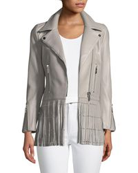Nour Hammour - Gray Saint Lambskin Leather Moto Jacket With Studded Fringe Hem - Lyst