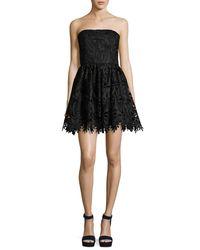 Alice + Olivia | Black Daisy Strapless Lace Party Dress | Lyst