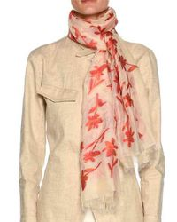 Giorgio Armani - Pink Floral-print Scarf With Raw-edge - Lyst