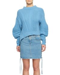 Stella McCartney - Blue Puff-sleeve Alpaca-blend Cable-knit Sweater - Lyst