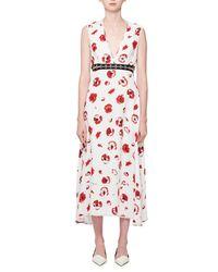 Proenza Schouler - White Sleeveless Poppy-print Midi Dress - Lyst