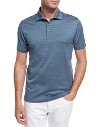 Ermenegildo Zegna - Blue Striped Cotton Polo Shirt for Men - Lyst