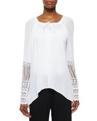 XCVI - White St. Barts Tunic W/ Crochet Sleeves - Lyst