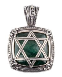 Konstantino - Green Men's Sterling Silver Star Of David Pendant With Aventurine for Men - Lyst