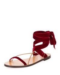 Valentino - Red Velvet Lace-up Flat Sandal - Lyst
