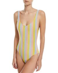 Solid & Striped - Yellow The Anne-marie Maui Shimmer Striped One-piece Swimsuit - Lyst