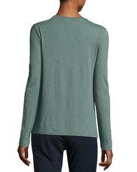 Vince - Green Slub Cotton Long-sleeve Tee - Lyst