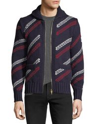 Moncler Gamme Bleu - Blue Stripe Knit Cardigan for Men - Lyst