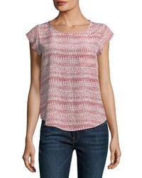 Joie - Pink Rancher Round-neck Cap-sleeve Silk Top - Lyst