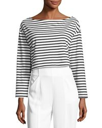 A.L.C. - Black Audrie Long-sleeve Striped Crop Boxy Tee - Lyst