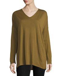 Eileen Fisher - Black Ultrafine Merino V-neck Tunic - Lyst