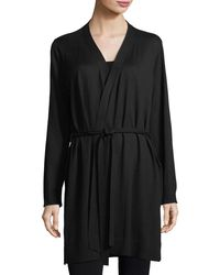 Eileen Fisher - Black Belted Simple Cardigan - Lyst