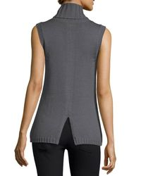 Ramy Brook - Gray Leah Beaded Sleeveless Cowl-neck Sweater - Lyst