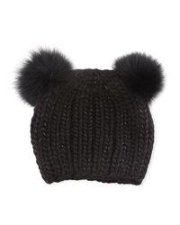 Eugenia Kim - Black Mimi Tonal Double Fur Pompoms Beanie Hat - Lyst