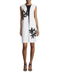 Narciso Rodriguez - White Bold Floral-print Sleeveless Shift Dress - Lyst