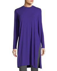 Eileen Fisher - Purple Long-sleeve Knee-length Jersey Tunic - Lyst