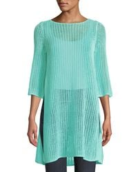 Eileen Fisher - Blue 3/4-sleeve Long Organic Linen Tunic With Side Slits - Lyst