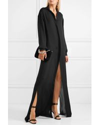 Juan Carlos Obando Silk-georgette Maxi Shirt Dress Black