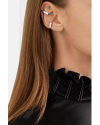 Saskia Diez - Metallic X Stripe Set Of Two Silver Ear Cuffs Silver One Size - Lyst