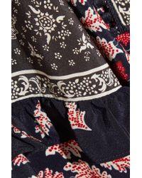 Sea Blue Eloise Ruffled Printed Silk Crepe De Chine Blouse