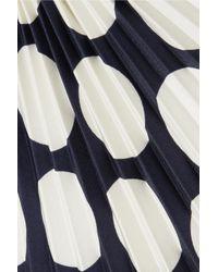 Awake - Blue Back To Front Reversible Pleated Polka-dot Crepe Dress - Lyst
