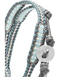 Chan Luu - Blue Crystal-embellished Leather Wrap Bracelet - Lyst
