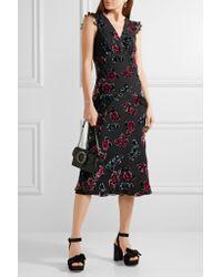 Anna Sui - Black Lace-trimmed Floral-print Devoré-chiffon Midi Dress - Lyst