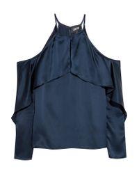 Cushnie et Ochs | Blue Florence Cold-shoulder Silk-satin Top | Lyst