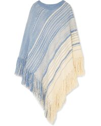 Chloé - White Oversized Fringed Cotton And Wool-blend Poncho - Lyst