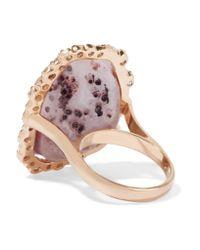 Kimberly Mcdonald - Multicolor 18-karat Rose Gold, Geode And Diamond Ring - Lyst