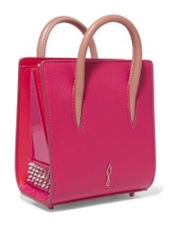 Christian Louboutin - Pink Paloma Nano Studded Textured-leather Tote - Lyst