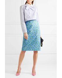 Prada | Blue Bow-embellished Ruffled Striped Cotton Shirt | Lyst
