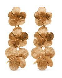 Oscar de la Renta - Metallic Gold-plated Clip Earrings - Lyst