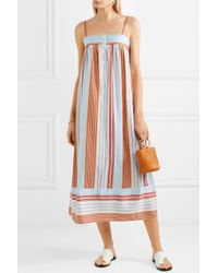 Paul & Joe - Orange Striped Satin-jacquard Dress - Lyst