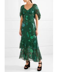 Anna Sui - Green Ruffled Fil Coupé Silk-blend Chiffon Midi Dress - Lyst