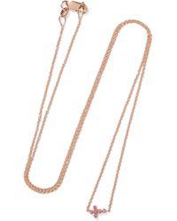 Ileana Makri - Metallic Mini Cross 18-karat Rose Gold Sapphire Necklace - Lyst