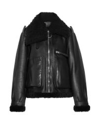 Acne | Black Lore Shearling-lined Leather Coat | Lyst