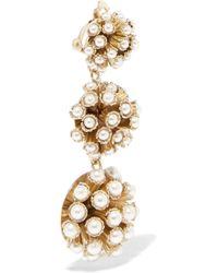 Rosantica - Metallic Futura Gold-tone Faux Pearl Clip Earrings - Lyst
