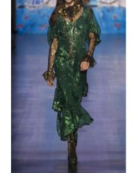 Anna Sui - Green Ruffled Fil Coupé Silk-blend Chiffon Midi Dress - Lyst