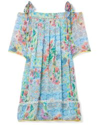 Matthew Williamson - Blue Deia Fiesta Cold-shoulder Printed Silk-chiffon Dress - Lyst