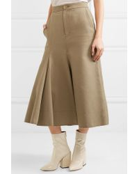 Joseph - Natural Laurel Frayed Cotton And Silk-blend Twill Skirt - Lyst