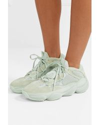 Adidas Originals - White Yeezy 500 Leather, Suede And Mesh Sneakers - Lyst