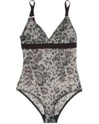 Stella McCartney - Multicolor Florence Fluttering Leopard-print Stretch-mesh Bodysuit - Lyst