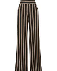 Etro - Black Striped Grain De Poudre Wide-leg Pants - Lyst