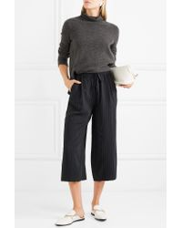 Vince - Blue Cropped Pinstriped Twill Wide-leg Pants - Lyst