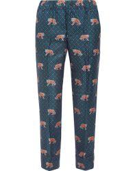 J.Crew - Blue Easy Printed Silk-twill Straight-leg Pants - Lyst