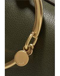 Chloé - Green Nile Bracelet Medium Textured-leather And Suede Shoulder Bag - Lyst