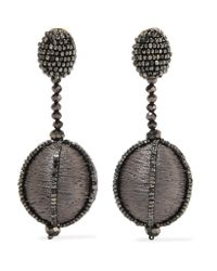 Oscar de la Renta - Gray Silk And Bead Clip Earrings - Lyst