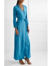Rhode Resort - Blue Jagger Silk Crepe De Chine Wrap Dress - Lyst
