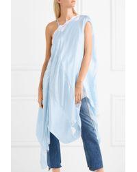 Vetements - Blue Asymmetric Lace-trimmed Silk-satin Midi Dress - Lyst
